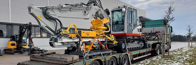 Drilling Excavator On Transport