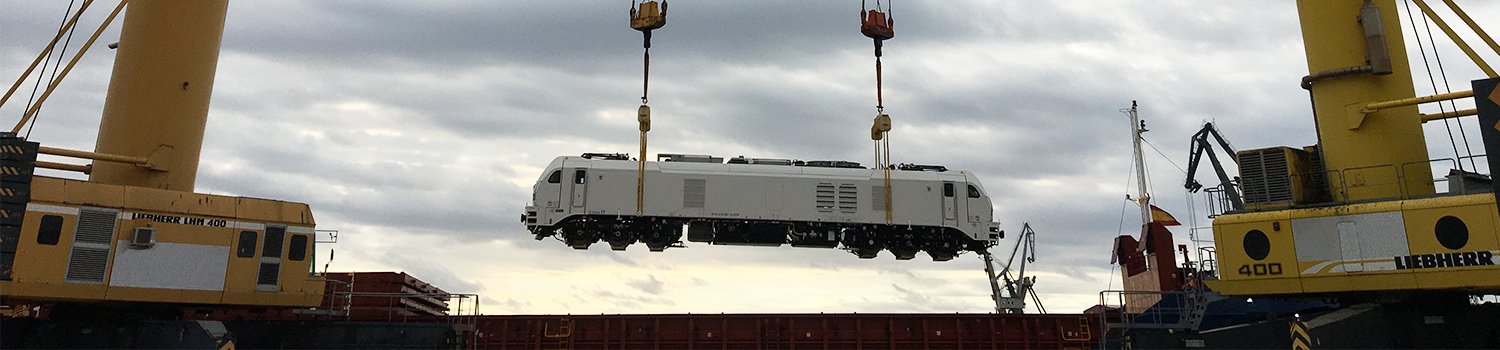 Loco Is Lifted Onto Vessel